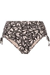 Adidas By Stella Mccartney Printed High Rise Bikini Briefs Black