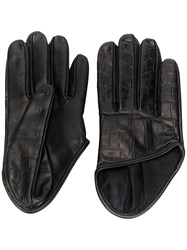 Manokhi Croc Effect Gloves Black