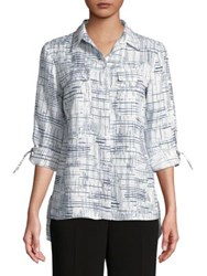 Jones New York Graphic Linen Button Down Shirt Ivory Black