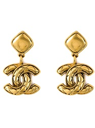 Chanel Vintage Logo Pendant Clip On Earrings Metallic