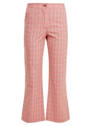 Stella Jean Checked Cotton Blend Flared Trousers