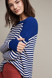 Anthropologie Striped Wool Pullover Blue Motif