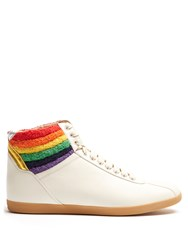 Gucci High Top Leather Trainers White Multi