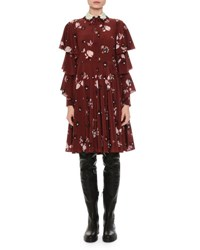 Valentino Floral Print Tiered Sleeve Crepe Dress Wine