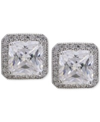 Macy's Cubic Zirconia Square Stud Earrings In Sterling Silver No Color