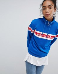Ellesse Italia Oversized Sweatshirt With Italia Logo And Half Zip Blue
