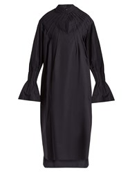 Teija Pleated Long Sleeved Cotton Poplin Dress Navy