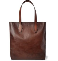 Berluti Scritto Leather Tote Bag Brown