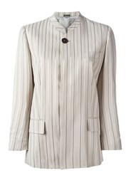 Maison Martin Margiela Maison Margiela Striped Stylised Blazer Nude And Neutrals