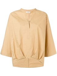 Humanoid Curved Hem Blouse Nude And Neutrals