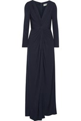 Badgley Mischka Twist Front Jersey Gown Midnight Blue