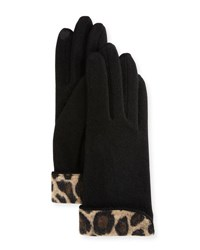 Portolano Leopard Print Cuff Wool Blend Gloves Black