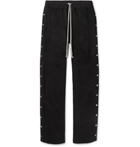 Rick Owens Felpa Wide Leg Snap Detailed Cotton Jersey Drawstring Trousers Black