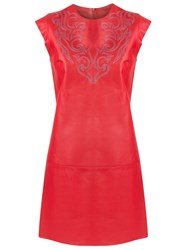 Talie Nk Panelled Leather Dress Red