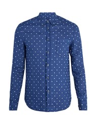 120 Lino Polka Dot Embroidered Linen Shirt Navy Multi