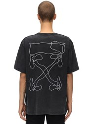 Off White Printed And Embroidered Cotton T Shirt Black