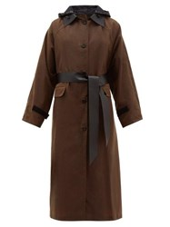 Kassl Editions Hooded Single Breasted Waxed Cotton Coat Brown Multi