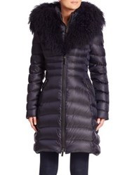 Dawn Levy Camille Mongolian Sheep Fur Trim Down Puffer Coat Abyss
