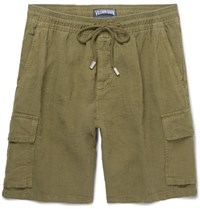 Vilebrequin Baie Brushed Linen Bermuda Shorts Green
