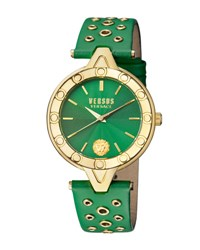 Versus By Versace 34Mm V Eyelet Watch W Leather Strap Green