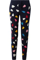 Chinti And Parker Confetti Heart Cashmere Track Pants Midnight Blue Usd
