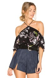1.State High Neck Flounce Sleeve Blouse Black