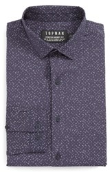 Topman Men's Silly String Skinny Fit Dress Shirt Dark Blue Multi