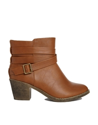 London Rebel Strap Heeled Ankle Boots Tan