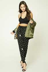 Forever 21 Dollar Sign Graphic Joggers Black