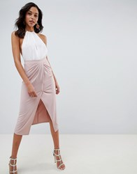 Asos Design Slinky Jersey Midi Skirt With Wrap Front Pink