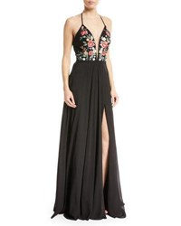Faviana Chiffon Floral Embroidered Lace Up Gown Black