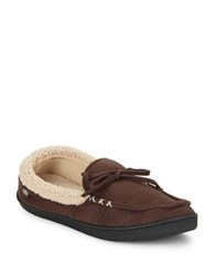 Isotoner Faux Fur Lined Moccasins Dark Chocolate