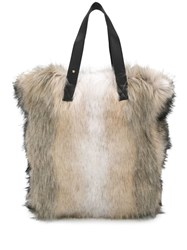 Urbancode Large Faux Fur Tote Bag Neutrals