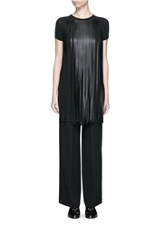 Neil Barrett Fringe Eco Leather Stretch Jersey T Shirt Black