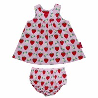 Toby Tiger Strawberry Baby Dress Red Pink Purple