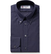 Turnbull And Asser Midnight Blue Slim Fit Button Down Collar Checked Cotton Shirt Midnight Blue