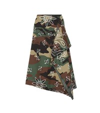 Monse Camouflage Stretch Cotton Midi Skirt Brown