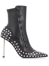 Alexander Mcqueen Buttoned Embellished Leather Boots Black