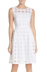Women's Ellen Tracy Windowpane Check Fit And Flare Dress White