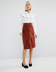 Gestuz Daya Suede Popper Skirt Burnt Henna Brown