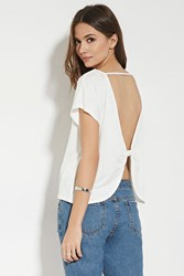 Forever 21 Contemporary Bow Back Top Ivory