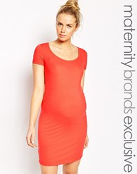 Mama Licious Mamalicious Basic Bodycon Dress Orange
