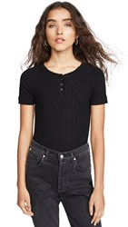 3X1 Slim Knit Henley Black