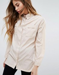 Daisy Street Shirt With Front Pockets Nude Beige