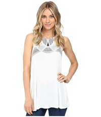 Rvca Neck Lace Tunic Vintage White Women's Sleeveless Beige