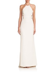 Halston Cutout Back Halter Gown Bone