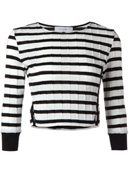 Le Ciel Bleu Cropped Striped Sweater