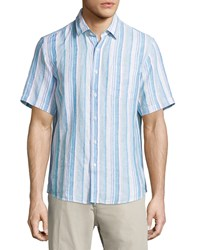 Neiman Marcus Linen Striped Short Sleeve Shirt Teal Blue