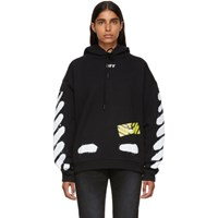 Off White Black And Spray Painted Hoodie