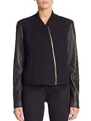 Helmut Lang Eon Leather Sleeve Wool Blend Jacket Black